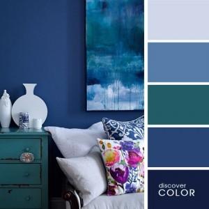 6-paleta cromatica formata din alaturarea bleu marinului cu mai multe nuante de albastru
