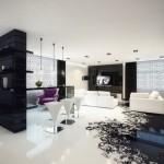 6-pardoseala epoxidica turnata alba cu decor negru in amenajarea unui living modern