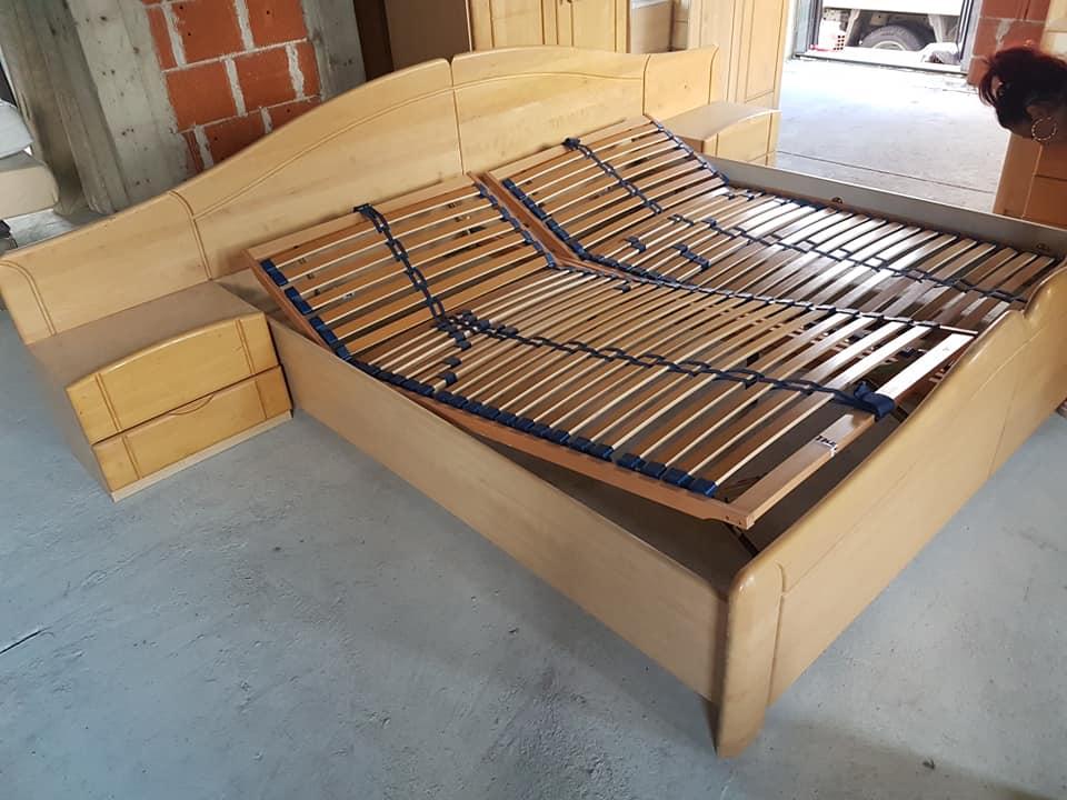 pat dormitor SH cu noptiere si somiere rabatabile