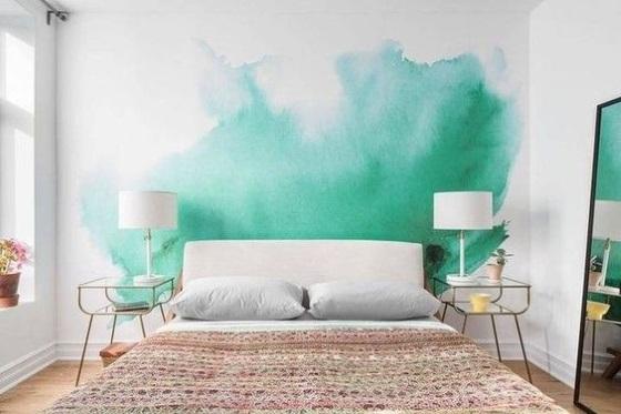 perete accent bleu turcoaz ombre dormitor mic