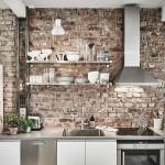 6-perete blat de lucru bucatarie placat cu caramida aparenta