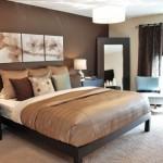 6-perete de accent maro ciocolatiu in amenajarea unui dormitor frumos