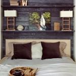 6-perete dormitor placat cu scanduri din lemn cu aspect vintage
