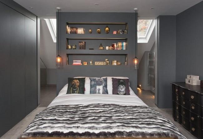 6-perete fals construit la capul patului unui dormitor mansardat