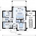 6-plan compartimentare interioara proiect casa cu garaj si suprafata locuibila 81 mp