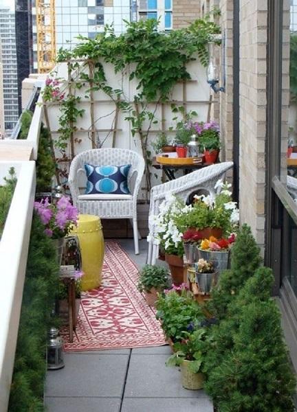 6-plante verzi si doua fotolii din impletitura alba decor balcon scandinav