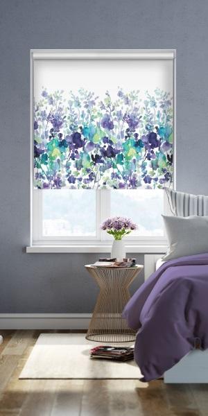 roleta alba cu imprimeu floral decor fereastra dormitor