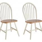 6-scaune din lemn alb cu sezut lemn natur pentru bucatarie sil rustic sau scandinav