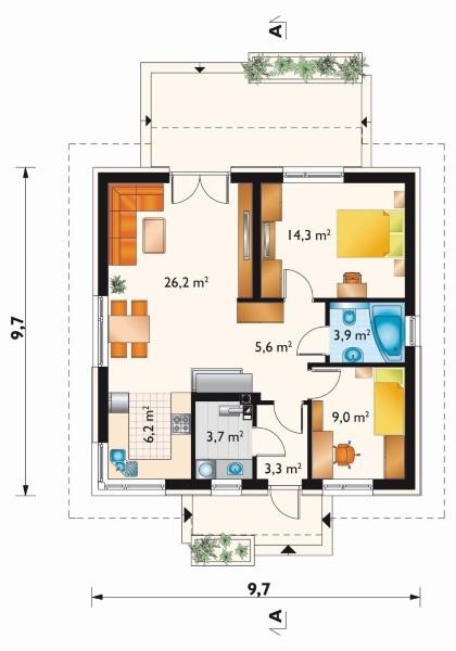 schita compartimentare interior casa 2 dormitoare