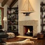 6-semineu interior living casa mica din piatra stil Tudor