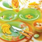 6-serviciu de masa farfurii din sticla colorata