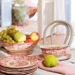 6-serviciu de masa portelan alb cu imprimeu floral rosu