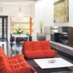 6-set canapele rosii in living modern cu parchet wenge