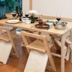 6-set de masa si scaune pliante Snap Jack deschise din lemn natur Living with Jack