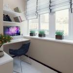 6-spatiu de lucru cu birou si polite in amenajarea unui balcon mic
