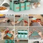 6-suport handmade pentru tacamuri din cutii de conserve goale
