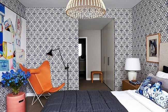 6-tapet decorativ cu imprimeu geometric amenajare dormitor tendinte 2016