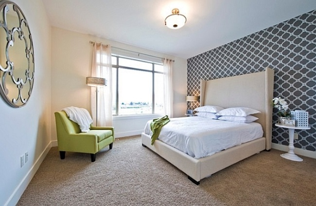 6-tapet decorativ cu imprimeu tip fagure in alb si negru decor dormitor