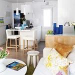 6-vedere din living spre bucataria open space apartament 40 metri patrati