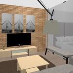 6-vedere din living spre dormitorul amenajat in spatele unui panou din sticla