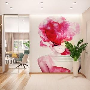 6-vedere spre livingul apartamentului modern finisat cu caramida aparenta