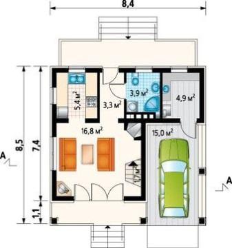 7-Plan parter casa mica cu garaj