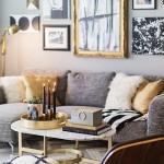 7-accente decorative aurii in decorul unui living modern