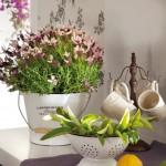 7-aranjament decorativ bucatarie flori mov galeata metalica alba