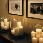 7-aranjament decorativ din lumanari in amenajarea livingului