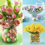7-aranjamente decorative cu oua vopsite si flori pentru masa de Pasti