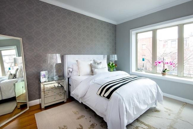 7-asortare tapet decorativ gri cu imprimeu cu lavabila gri decor dormitor scandinav