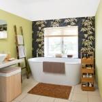 7-baie moderna perete finisat cu tapet decorativ