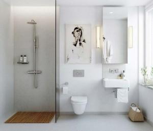 7-baie moderna stil scandinav dus separat de baie prin intermediul unui perete din sticla