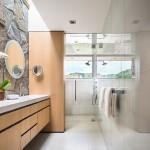 7-baie ultramoderna mare cu un perete placat cu piatra naturala