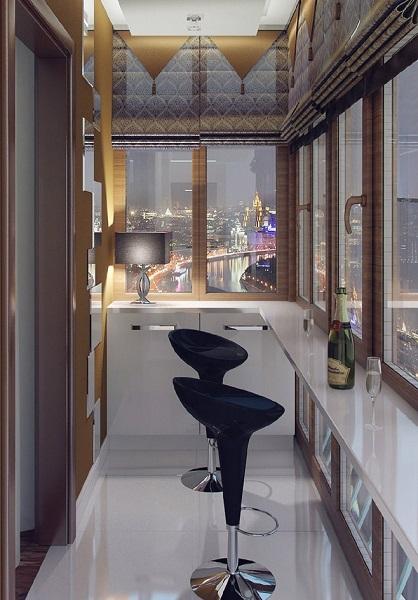 7-bar loc mic dejun amenajat in balconul apartamentului