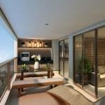 7-bucatarie minimalista cu loc de luat masa amenajata intr-un balcon mare de apartament