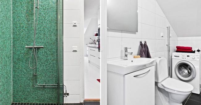 7-cabina dus mozaic turcoaz baie apartament 2 camere mansarda