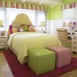 7-camera fetita decorata in vernil cu alb si accente roz