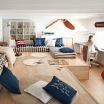 7-camera pentru doi copil amenajata in stil maritim cu tematica nautica