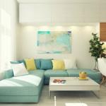 7-canapea bleu cu pernute albe galbene si bleu living open space garsoniera moderna