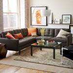 7-canapea gri living asortata accesorii portocalii