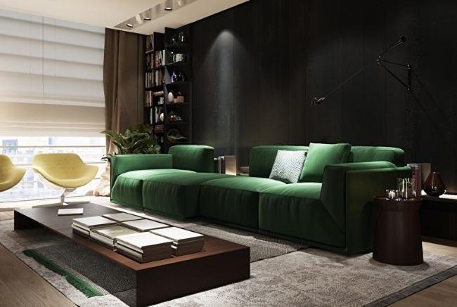 7-canapea verde living modern retro cu mobila wenge