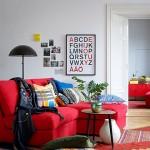 7-coltar rosu decor living amenajat in stil scandinav