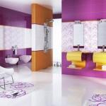 7-combinatii de faianta alb violet si galben decor baie moderna