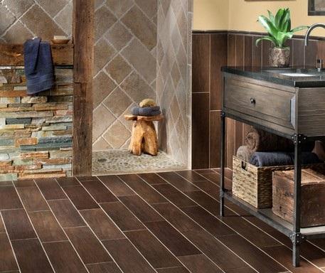 7-combinatii gresie si faianta tip lemn travertin si piatra naturala amenajare baie moderna