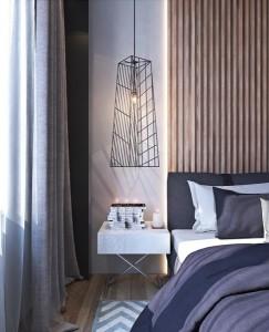 7-corp de iluminat suspendat pe post de veioza de la capul patului din dormitor