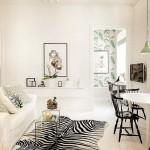 7-covor din blana de zebra decor living alb negru
