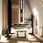 7-design spectaculos bucatarie moderna in mansarda amenajata in alb si maro