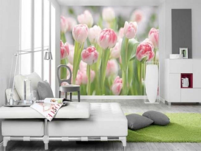 7-dormitor alb cu fototapet floral nuante deschise design 2019