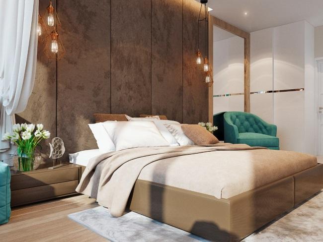 7-dormitor amenajat in nuante de maro si accente turcoaz